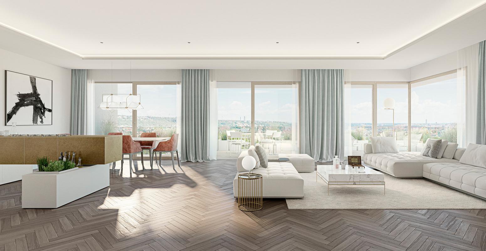 Velkorysé byty v posledním patře a s překrásnými výhledy na Prahu