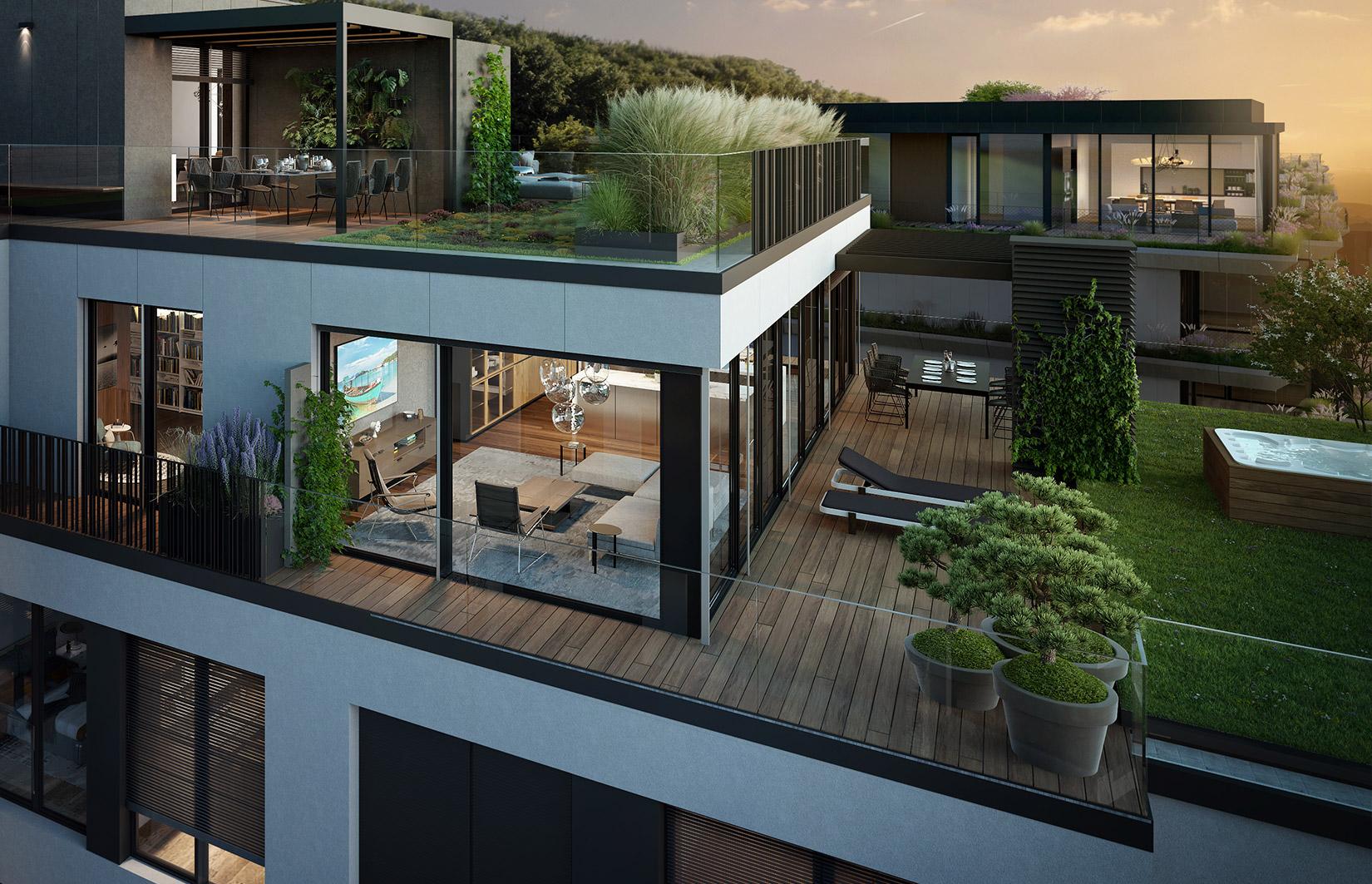 Možnost umístění vířivky na střešní zahradě