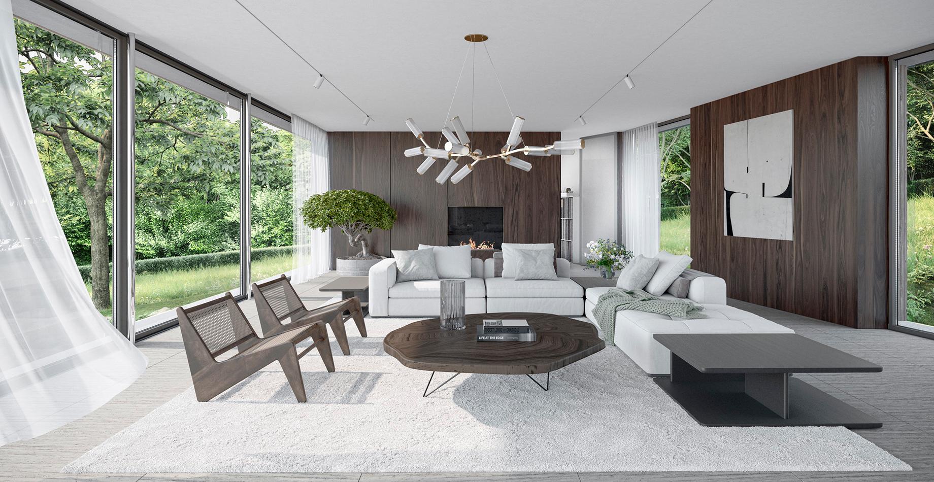 prosvětlené velkorysé interiéry