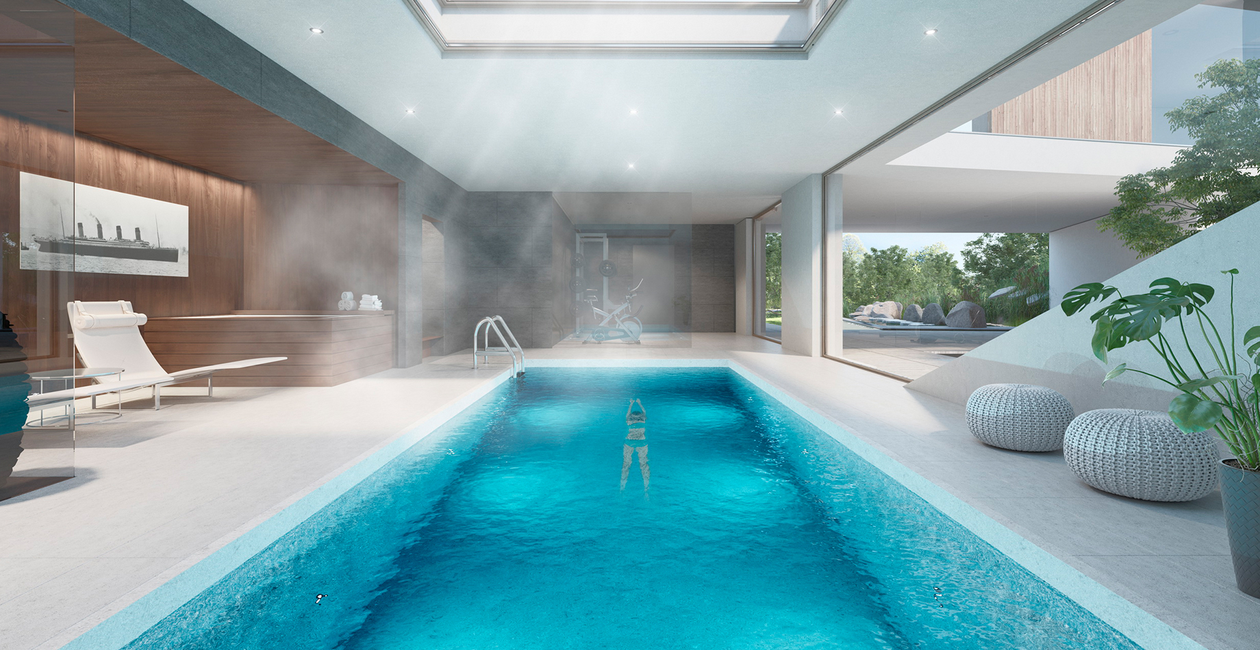 generous fitness and spa with an indoor swimming pool