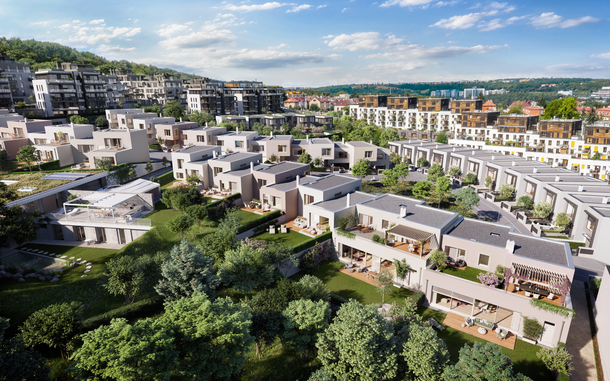 cascaded townhouses with views